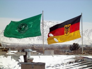 Kabul- ISAF and German flag on top of the command post in district 6