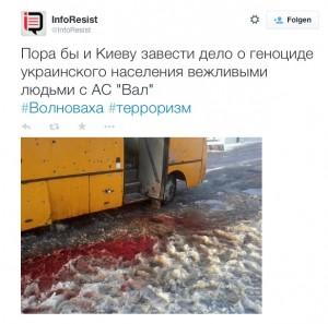 zerschossener Bus in der Ostukraine